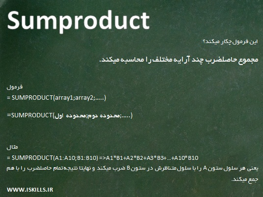 Advanced Excel Formulas-Sumproduct-Excelmand-www.iskills.ir